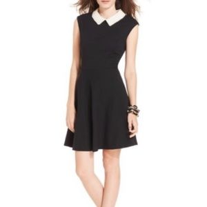 Betsey Johnson Black Dress with White Pearl Collar